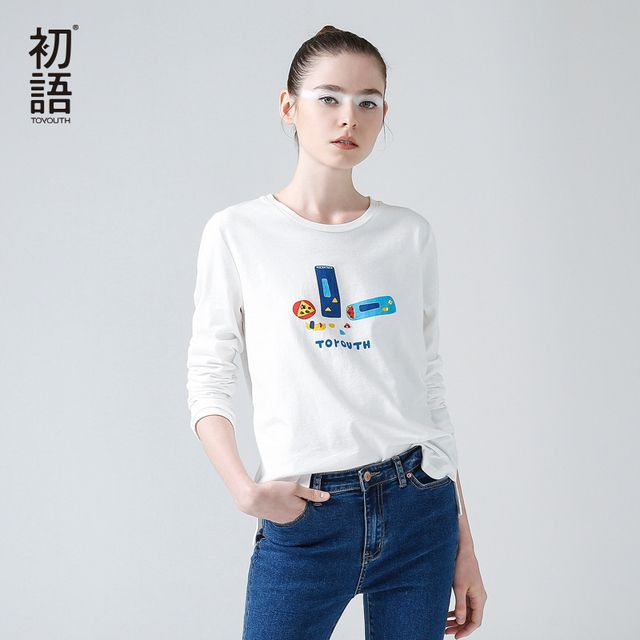 Toyouth 2017 New Arrival T Shirt Women O-Neck Long Sleeve Cotton Slim Basic Tees Female Character Casual Tops