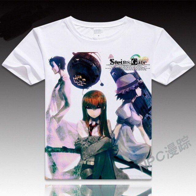 Anime Unisex Tops Tee Steins Gate T Shirt Men's Japanese Cartoon T-shirt Makise Kurisu Cosplay Costumes t shirts tops
