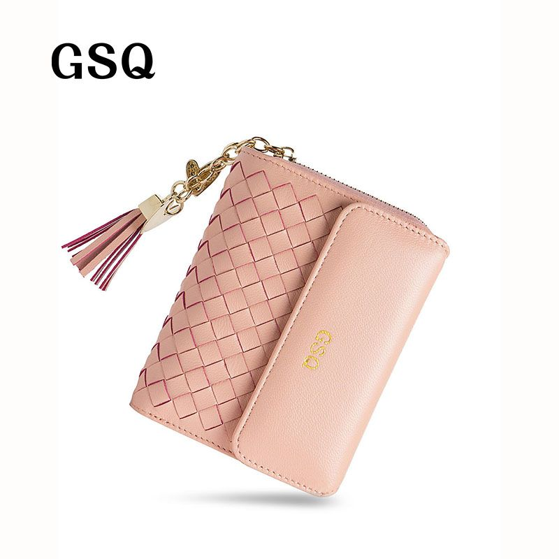 GSQ Genuine Leather Women Wallet Lady Style High Quality Leather Women Short Wallet Hot Purse With Zipper Coin Pocket NQ1227
