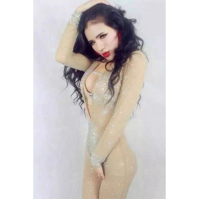 FREE SHIPPING Sexy Queen Custom Made Nude Perspective Low Cut Slim Rompers Hollow Out Rhinestone Leotard Costume Women Jumpsuits