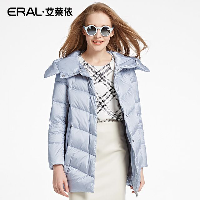 ERAL Women's Winter 2016 New Thickening Hooded Down Coat Medium-long Casual Parka Down Jacket ERAL16047-EDAB
