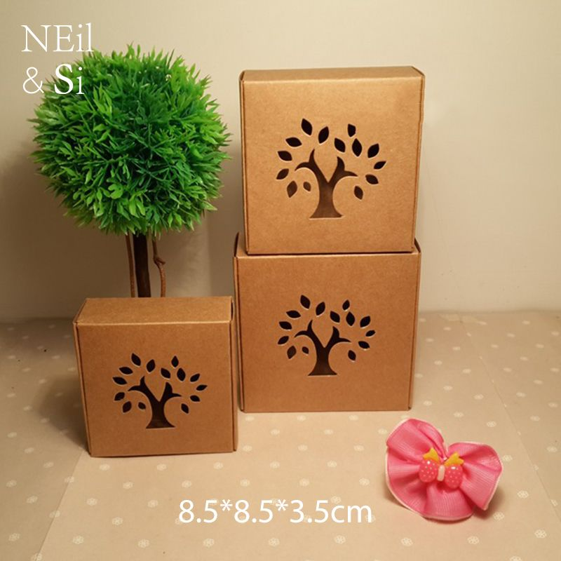 Hollow Tree Brown Paper Box for Craft Gift Handmade Soap Packaging Kraft Window Boxes Free Shipping 8.5*8.5*3.5cm