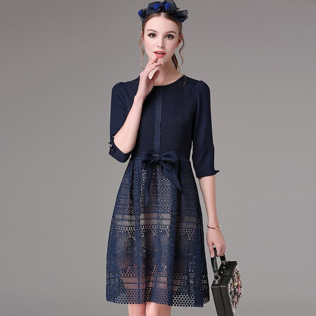 KAN.F Brand High Quality Hot  2016 Spring Autumn New Hollow Out Lace Dresses Elegant O Neck Blue Casual Dresses For Women 66601