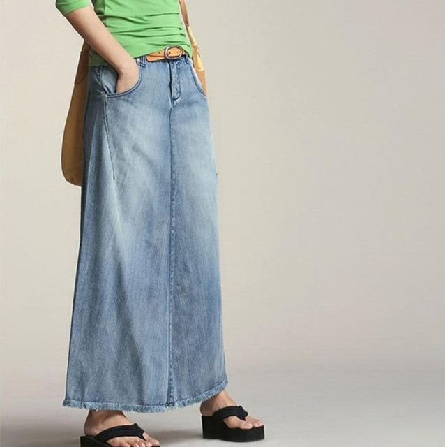 Free Shipping 2017 Fashion Women Denim Jeans Skirt Casual 100% Cotton A-line Long Maxi Tassels Skirts Elegant Summer And Spring
