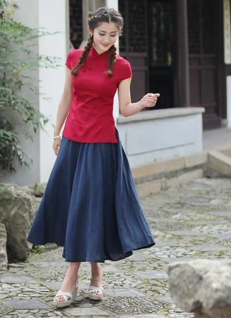 Hot Sale Red Summer Women's Shirt Skirts Sets Traditional Chinese Style Cotton Linen Tang Suit Size S M L XL XXL XXXL 2518-6