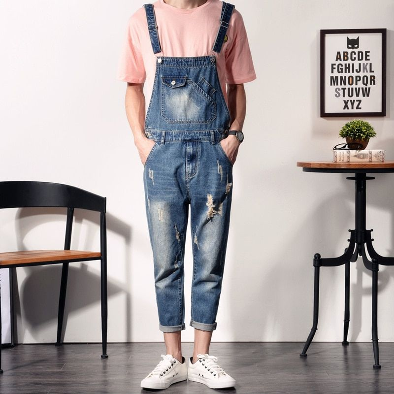 Fashion Skinny Overalls Men Slim Ripped Jeans Distressed Denim Jumpsuits For Man Casual Blue Denim Bib Overalls Jeans