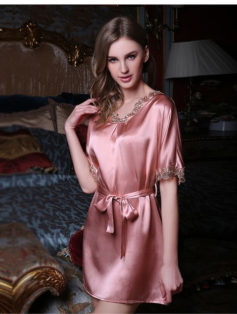 100% Silk Nightgown Hot Fashion Pink Women 2016 Luxurious Satin Silk Nightgowns for Women