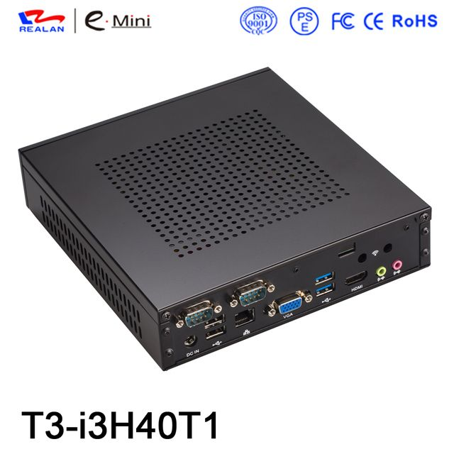 Industrial PC Desktop HTPC Mini Computer Barebone Mini PC Windows 10 Linux Intel Core i3 4010Y