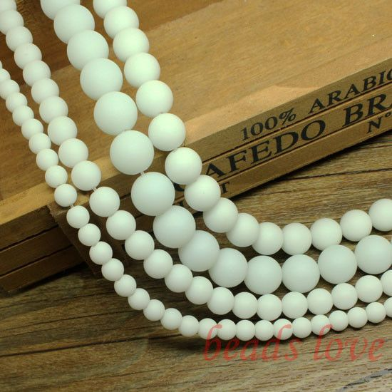 "wholesale 15.5"" Smooth round white Dull Polish Matte Onyx Agata Stone Beads 6 8 10 12 14mm Pick Siz Free Shipping-w02751"