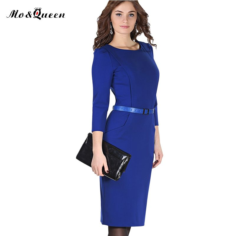 Blue Office Dress Women 2017 New Arrival Fashion Spring Pencil Dress Women Knee Length Ladies Dresses With Belt Polyester O-Neck