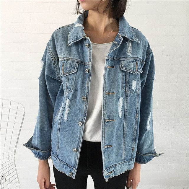 Big Size Hot Selling Autumn And Winter Women Denim Jacket 2017 Vintage Long Sleeve Loose Female Jeans Coat Casual Girls Outwear
