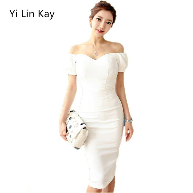 Yi Lin Kay Woman dress 2017 fashion runway white short-sleeved cultivate one's morality show thin dress
