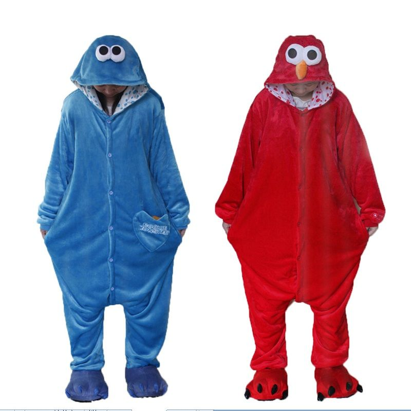 Kigurumi Men women Flannel Adult Animal Onesie Cookie Monster Pajamas Disfraces Sleepsuit Sleepwear Pyjamas Costumes Hooded