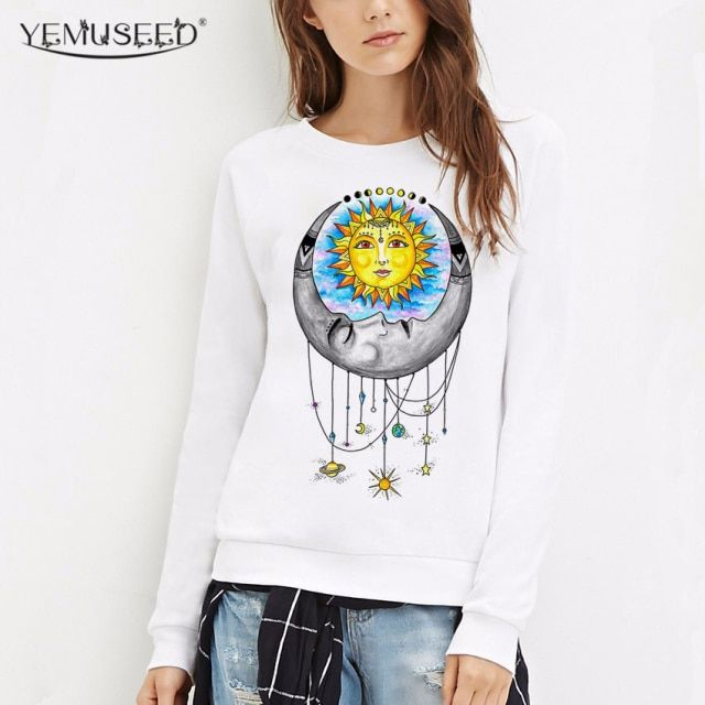 YEMUSEED White Harajuku Universal Love Crew Neck Hoodies Vintage Long Sleeve Moletom Sweatshirts Pullovers Plus Size WMH94