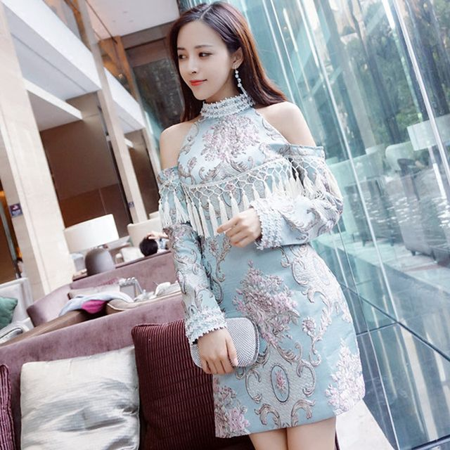 New 2017 fashion Luxury Womens Dresses Chinese Style Stand Collar Beadings Tassel Vintage Floral Jacquard Embroidery Dress OM126