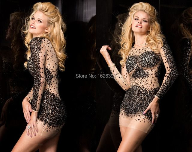 Luxury Full Sleeve See Through Sexy Bling Bling Crystal Short Dresses Cocktail Party Gowns Tulle Sheath Vestidos De Coctel