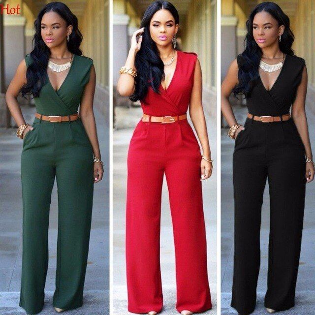 New Sexy Ladies Clothing OL Women Long Jumpsuit V-neck Sleeveless Casual Party Jumpsuit Romper Formal Playsuit Hot LP000997