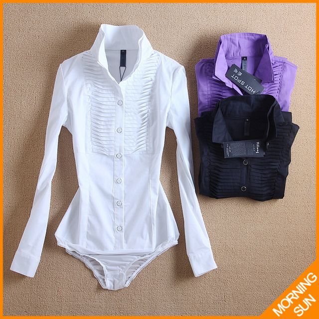 2017 new arrival hot sale american style Slim OL stand collar fold white black purple autumn winter long women body shirt #4038