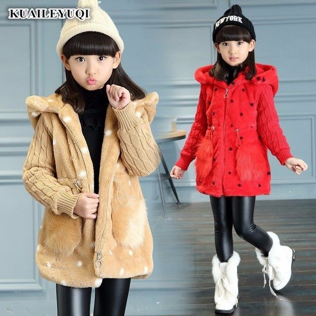 2017 Kids winter girls clothes jacket warm coat thick hooded Artificial imitation fur rabbit sweater long section enfant cotton