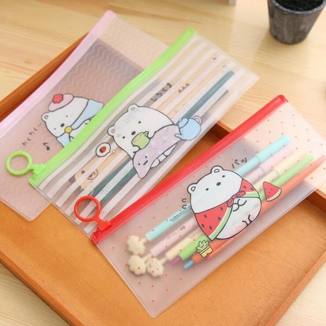 2 Pieces Korea stationery lovely cute animals creative ring edge PVC envelope to receive bag translucent folder