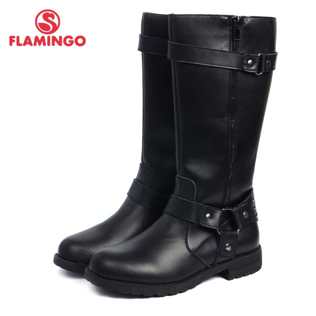 FLAMINGO new collection high quality autumn/ winter black leathern children's shoes for girls anti-slip fashion boots 52-CC324
