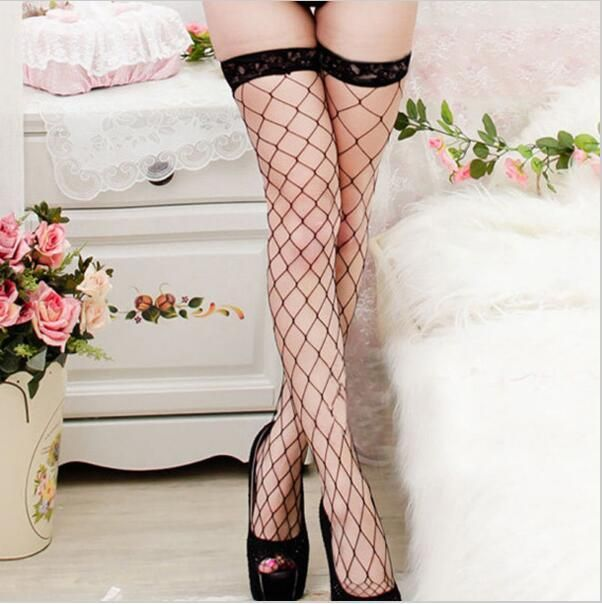 Female Amazing Nylon Sexy Large Mesh Fishnet Lace Medias Over Knee Socks Thigh High Stockings Long Tights Pantyhose For Woman
