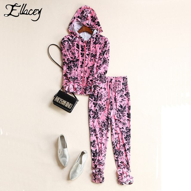 New 2016 Autumn Fashion Women's Tracksuit Print Hooded Sweatshirt Suit Casual Stylish Pants Suits For Women 2 Pieces Set