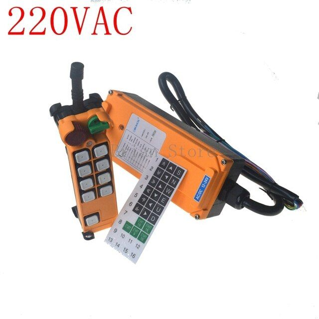 220VAC 8 channel 1 Speed Hoist Crane Truck Radio Remote Control System with E-Stop
