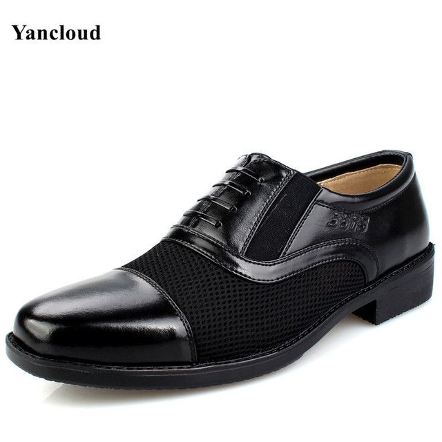 Breathable Men's Summer Shoes Artificial Leather Sandals 2017 Slip on Business Sandals Men Dress Shoes Black