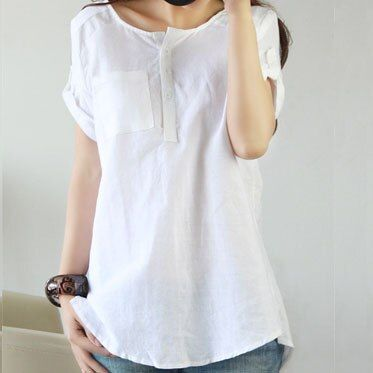 2016 New Women Summer Casual Cotton Linen Shirts Pocket Natural Tops Short Sleeve Blouse Femme O-Neck Mujer Plus Size CSN088