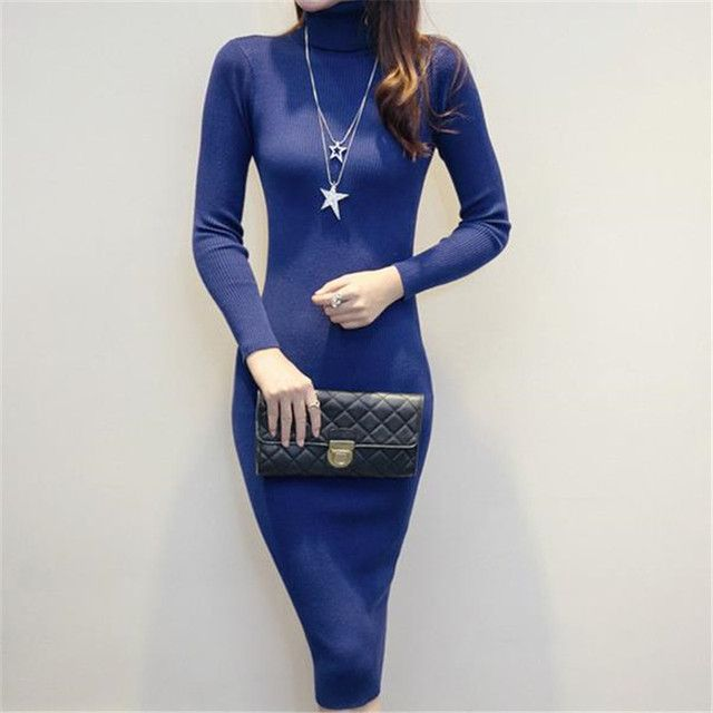4 Colors 2016 New Spring Autumn Knit Slim Dress Turtleneck Long Knee-Length Sexy Sheath Sweater Women Bodycon Robe Vestido ZS765
