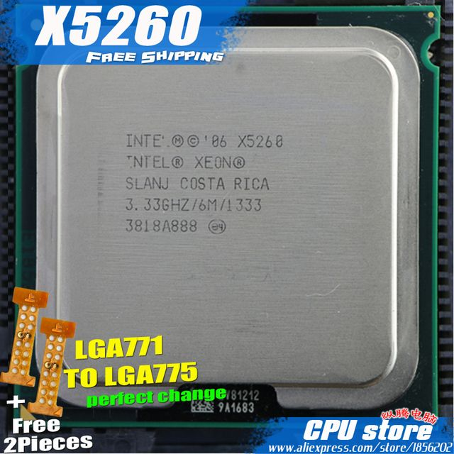 Intel Xeon  X5260  3.33GHz/6M/1333 Processor close to LGA771 Core 2 Dual-core  E8500 CPU works on LGA 775 mainboard 2 Pieces