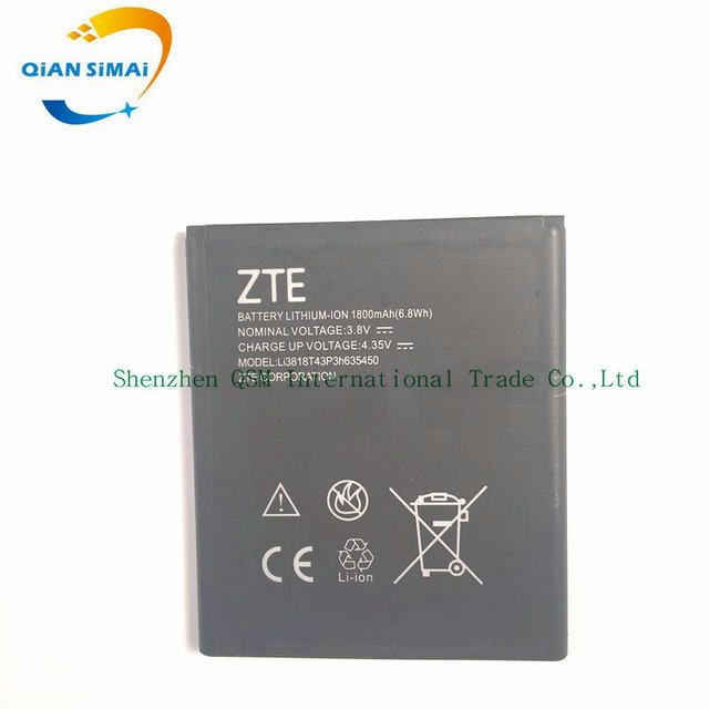 QiAN SiMAi 1800mAh new high quality Li3818T43P3h635450 Battery For ZTE Z820 mobile phone in stock + Free Shipping +track code
