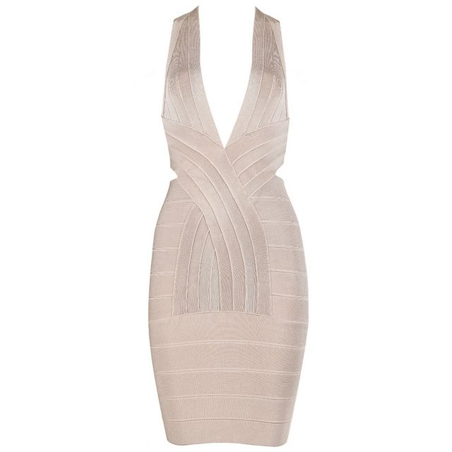 Fast Shipping 2017 Hot&Sexy Deep V Neck Cross Back Womens Short Cocktail Party Club HL Nude Bodycon Bandage Dresses High Quality