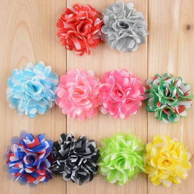 40pcs/lot 5CM Baby Girl Chiffon Satin Mesh Flower Chevron DIY Children Headwear Accessories