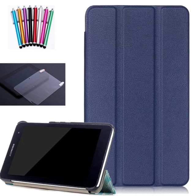 Hot Pada case for Huawei mediapad T1 T2 7.0 T1-701U 7 inch leather stand folio cover for huawei T1 T2 7.0+screen protector