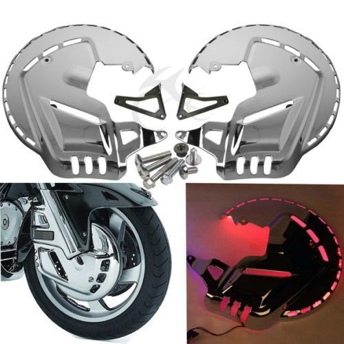 Chrome Motorbike Brake Rotor Covers W/LED Ring Of Fire for Honda GOLDWING GL1800 2001-2014 F6B 2013-2015