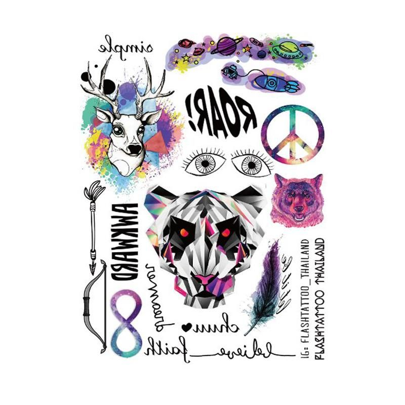 Temporary tattoos large Taty Body Art Temporary Tattoo Stickers Colorful Gradual change Fawn tiger Glitter Tatoo Sticker