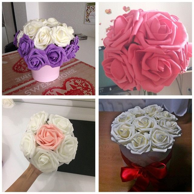 10Pcs PE Foam Rose Artificial Flower For Wedding Decoration Diameter 8cm flower head DIY Bouquets Wreaths Party Decorative 8Z