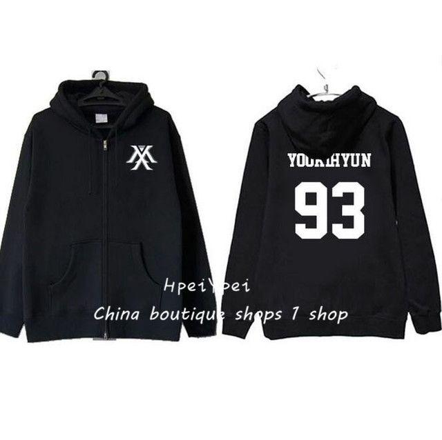 monsta x concerts around the same who han edition men's and women's loose garment zipper hooded jacket fleece in the autumn