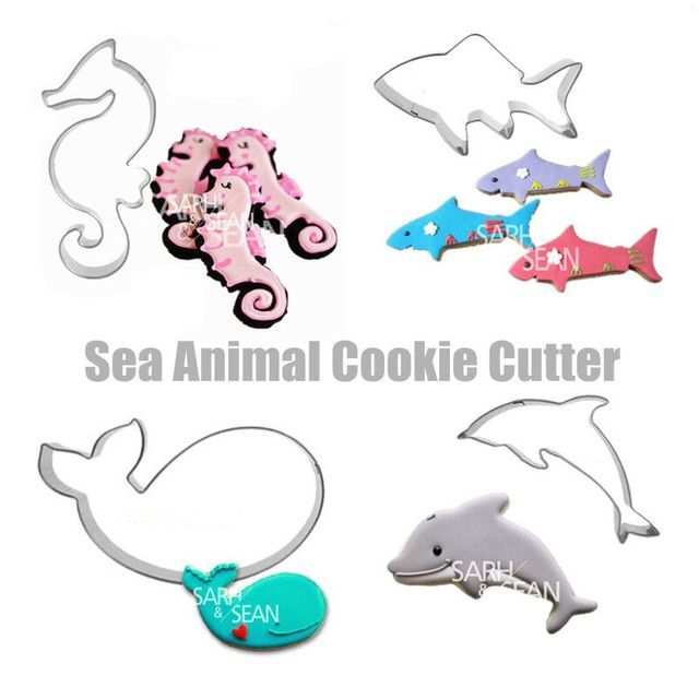 4pcs/set Metal Stainless Steel  Sea Animals of Dolphin Hippocampus  Whale Shark Cookie Cutters Fondant Biscuits Cutters Tools