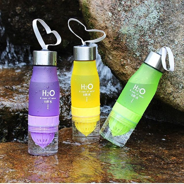 2016 New 650ml Lemon Water Bottle Multi-color H2O Drink More Water Drinking Bottle Brief Creative Water Bottle Outdoor Sport