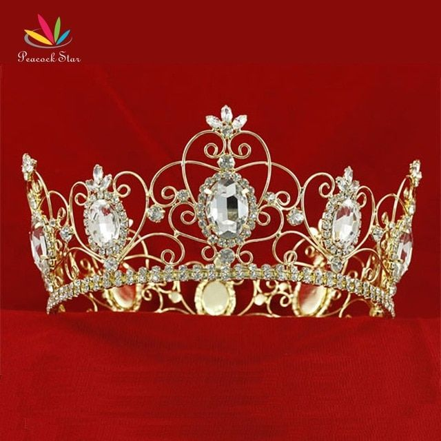Peacock Star Men's Pageant Full Circle Tiara Crystal Men's Gold Color Metal King Crown CT1784