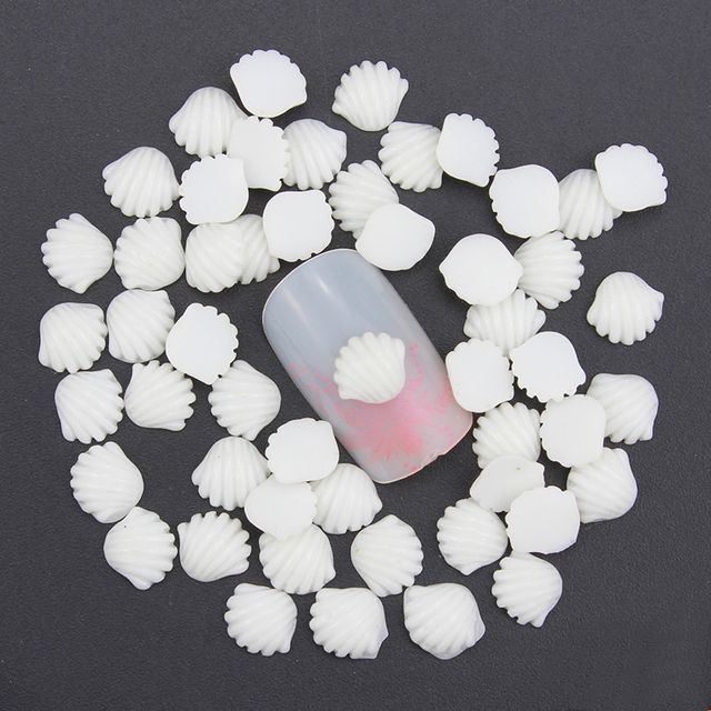 new arrive resin shell nail art decoration 5*7mm white acrylic nail sticker nail stud PJ195