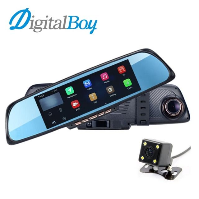 "Digitalboy 6.86"" Car Mirror Dvr Android GPS Navigation Rearview Mirror Video Recorder Dual Lens Parking Rear Camera Wifi DashCam"