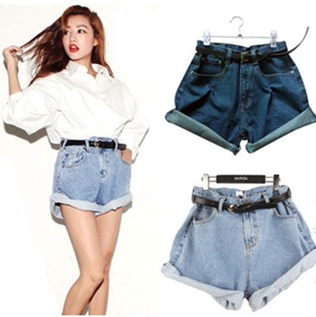 New 2016 Summer women high waist jeans short vintage roll-up hem denim shorts casual all-match plus size saia destroyed