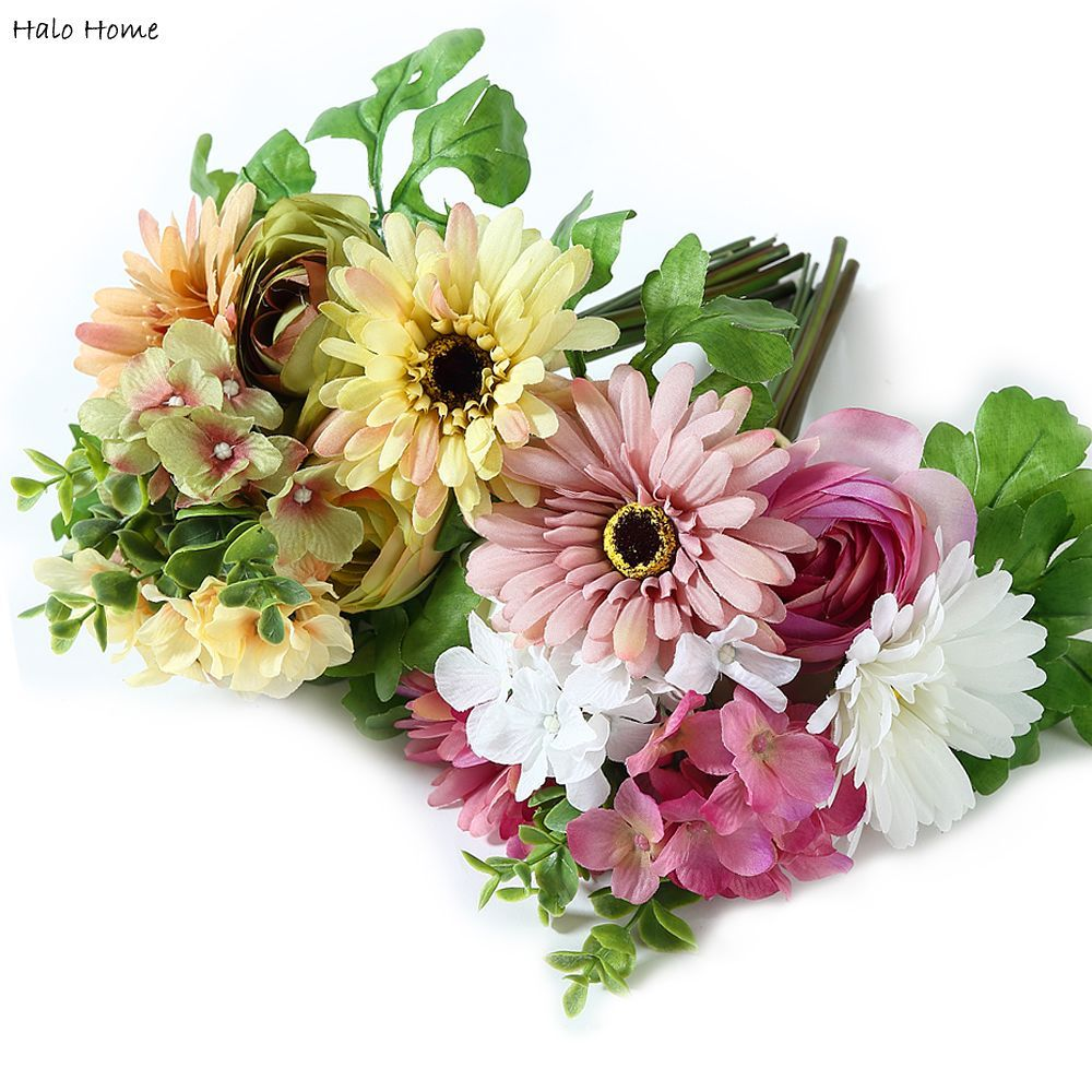 1 Bunch Artificial Flower Silk Gerbera bouquet fit Decoration Party Home Garden Perception of reality Top Quality