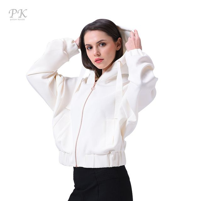 PK Basic Jacket Coat Women Zipper Streetwear Female Oversize Veste Windbreaker Womens Autumn Jackets White Bomber Jacket Women