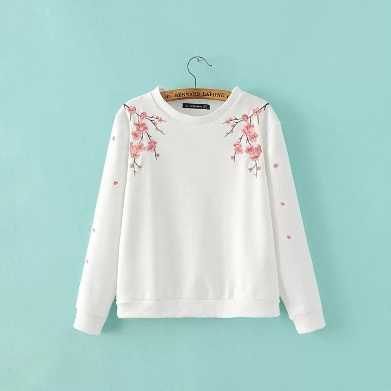 Women floral Embroidery Fashion White Sweatshirt Autumn Pullovers Casual Long sleeve O neck Women Hoodies Tops#R912