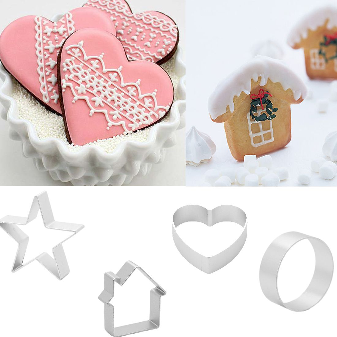 1Pcs/set  DIY Cake cutting Aluminium Alloy Gingerbread Men Shaped Holiday Biscuit Mold Kitchen cake Decorating Tools